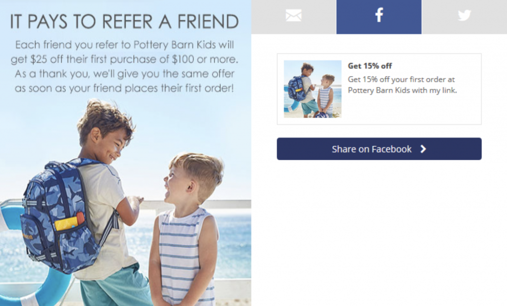 How to ask for referrals: Pottery Barn Kids