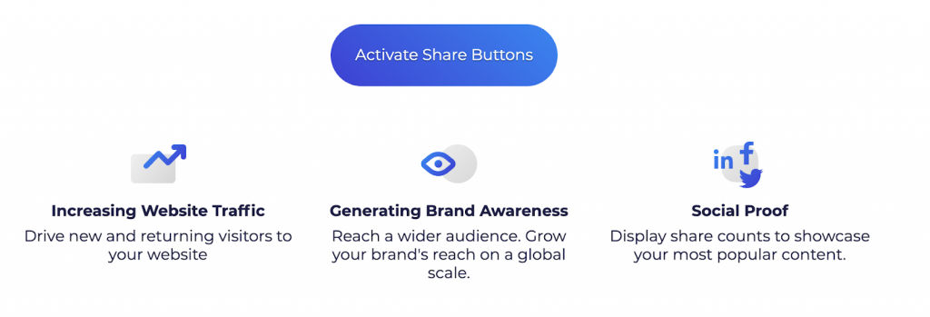 activate share buttons to promote your referral program