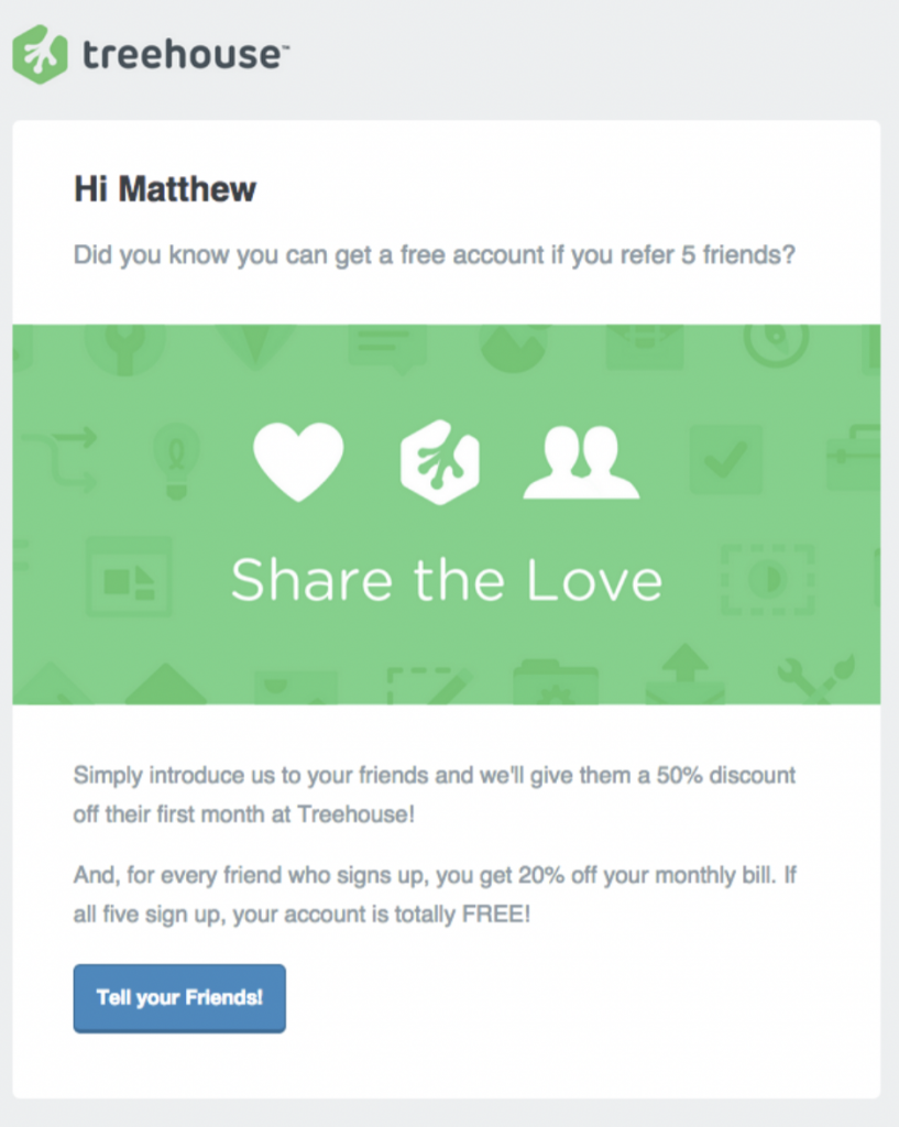 Treehouse referral email invite