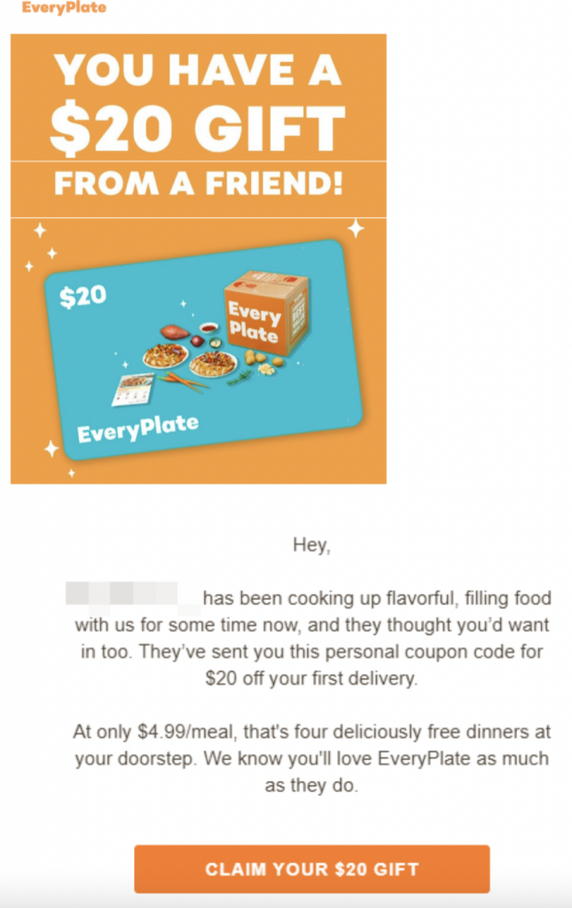 Everyplate referral message A