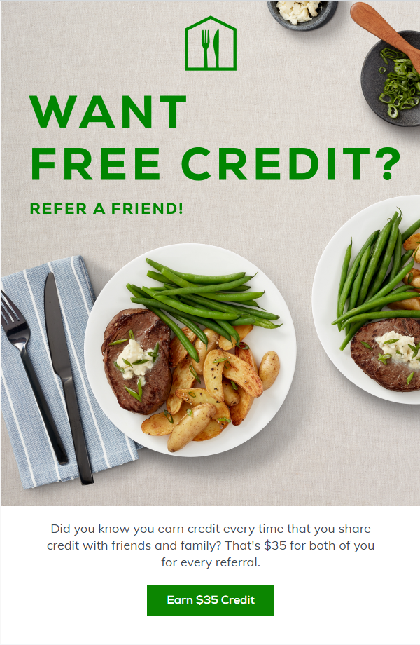 home chef referral email