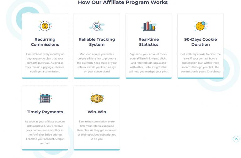 Moosend affiliate program description