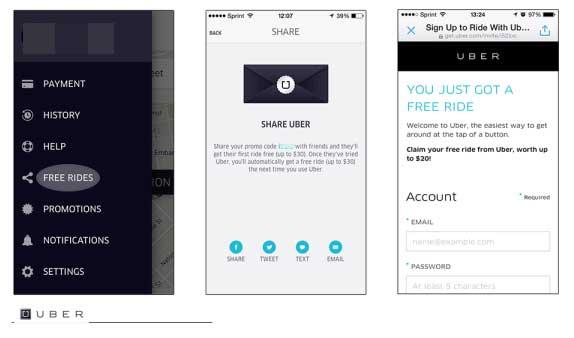 Uber mobile referral program