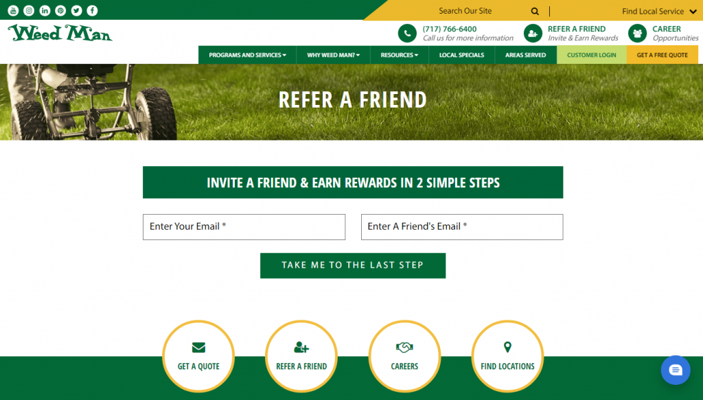 referral programs for small businesses: Weed Man
